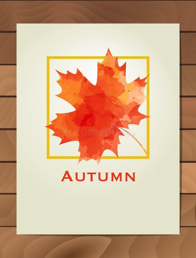 De esdoornblad van de de herfstwaterverf in een vierkant kader Achtergrond met hand getrokken de herfstbladeren Schets, ontwerpel stock illustratie