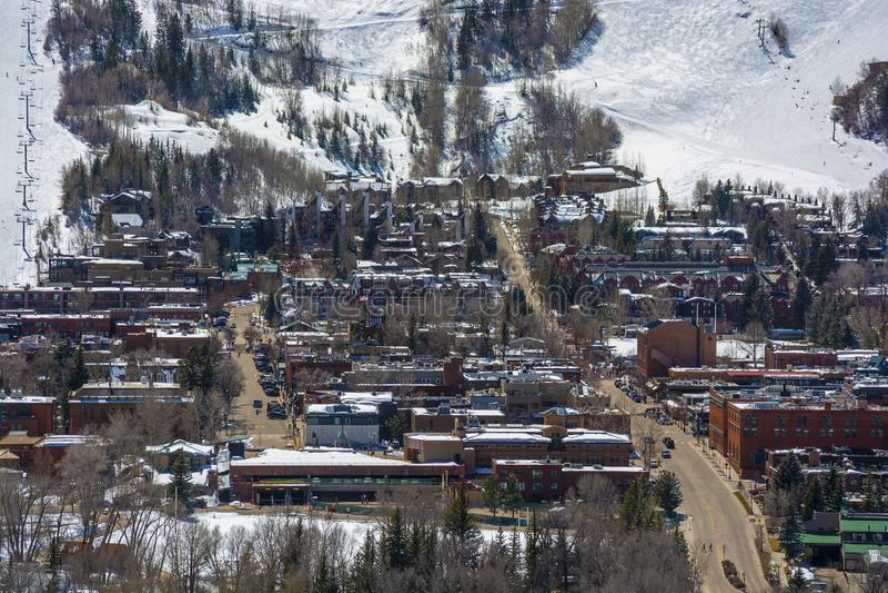 De Esp van de binnenstad, Colorado in de Winter in de loop van de dag royalty-vrije stock afbeelding