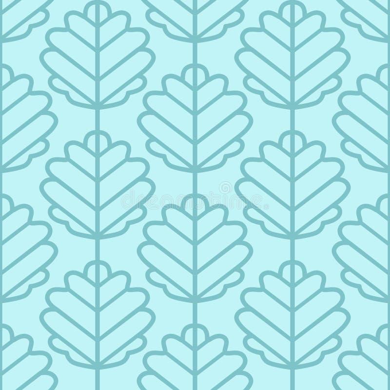 De esp verlaat naadloos vectorpatroon Uitstekende (lichtblauwe) stijl en kleuren royalty-vrije illustratie