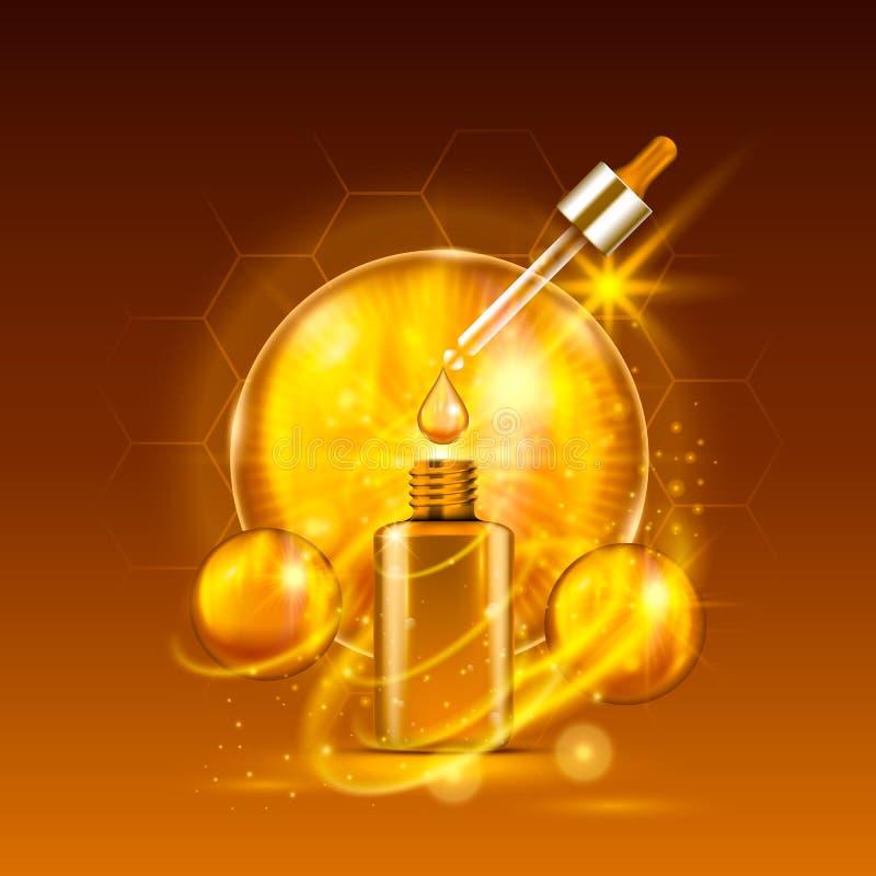 De essentiële fles van het serum gouden druppelbuisje vector illustratie