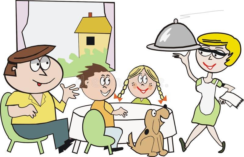 De etenstijdbeeldverhaal van de familie royalty-vrije illustratie