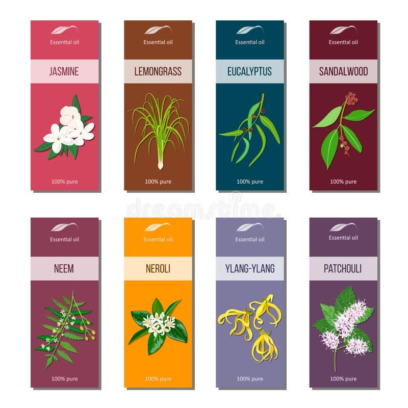 De etherische olie etiketteert inzameling Sandelhout, patchoeli, Kananga-olie, neem, neroli, citroengras, Eucalyptus, jasmijn vector illustratie