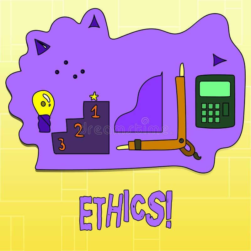 De Ethiek van de handschrifttekst Concept die Handhavend gelijkheidsevenwicht die onder andere morele principes hebben betekenen royalty-vrije illustratie