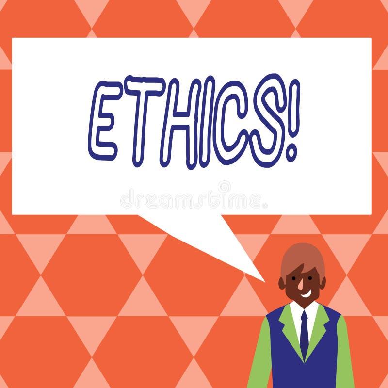 De Ethiek van de handschrifttekst Concept die Handhavend gelijkheidsevenwicht die onder andere morele principes hebben betekenen stock illustratie