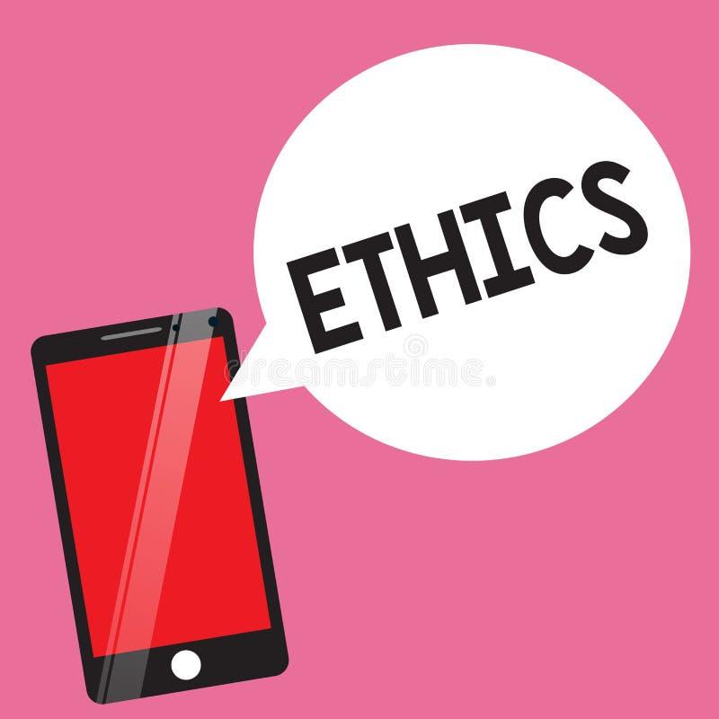 De Ethiek van de handschrifttekst Concept die morele principes betekenen die persoonsgedrag of het uitvoeren van activiteit reger vector illustratie