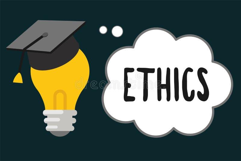 De Ethiek van de handschrifttekst Concept die morele principes betekenen die persoonsgedrag of het uitvoeren van activiteit reger royalty-vrije illustratie