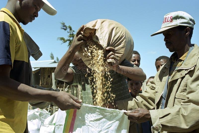 De Ethiopische landbouwer verkoopt op marktkorrel aan kopers stock foto