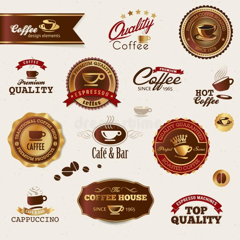De etiketten en de elementen van de koffie stock illustratie