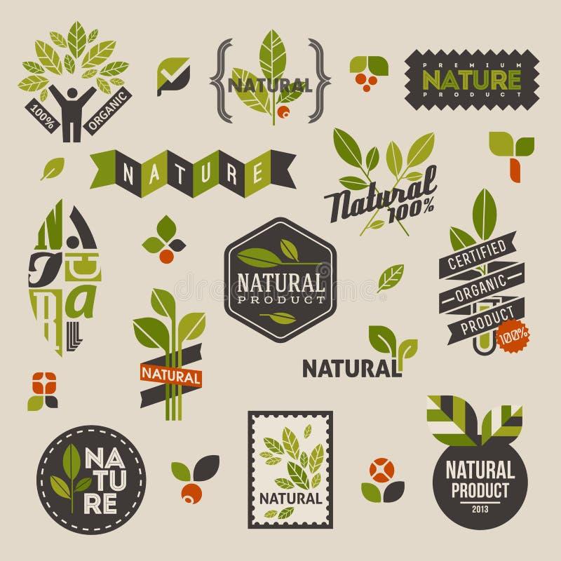 De etiketten en de kentekens van de aard met groene bladeren stock illustratie