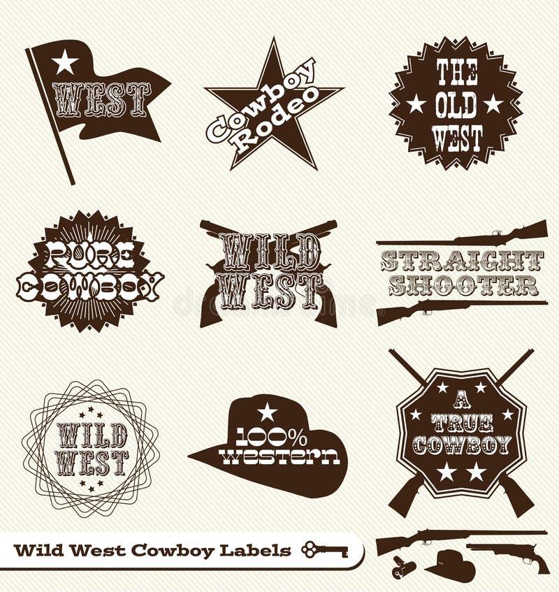 De Etiketten en de Stickers van de Cowboy van Wilde Westennen vector illustratie