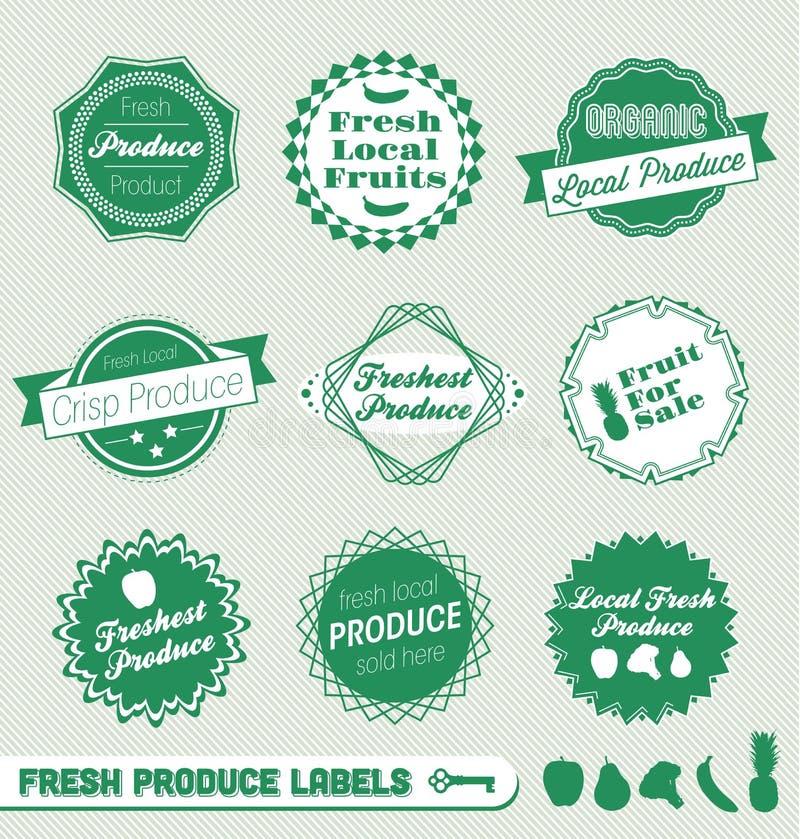 De Etiketten en de Stickers van de verse Opbrengst vector illustratie