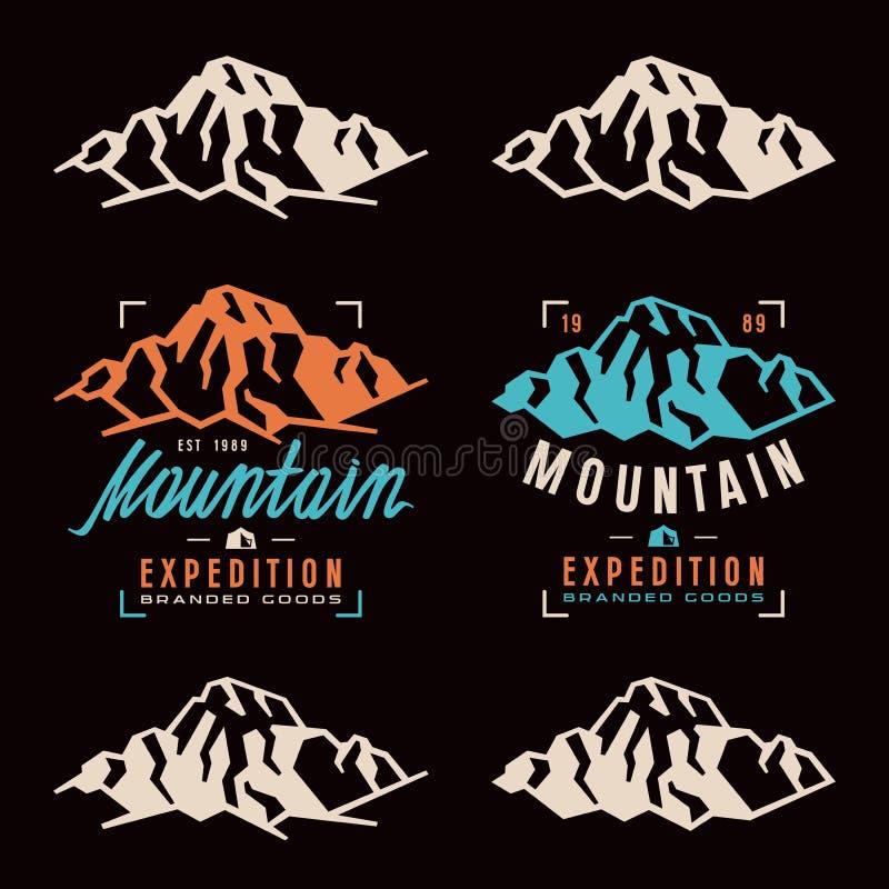 De etiketten van de bergexpeditie, kentekens en ontwerpelementen stock illustratie