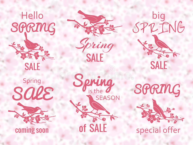 De etiketten van de de lenteverkoop met de achtergrond van de kersenbloesem vector illustratie