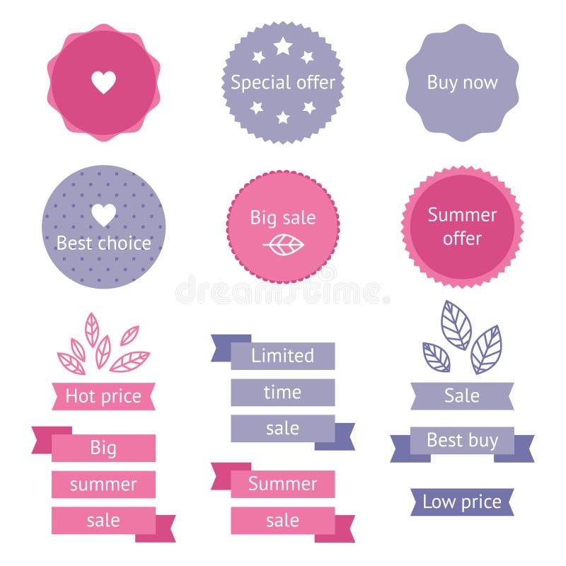 De etiketten van de de zomerverkoop royalty-vrije illustratie
