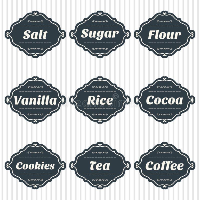 De etiketten van de voedselopslag De inzameling van de opslagmarkeringen van het keukenvoedsel vector illustratie