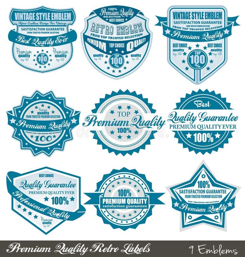 De etiketten van de Waarborg van de Kwaliteit en van de Tevredenheid van de premie royalty-vrije illustratie