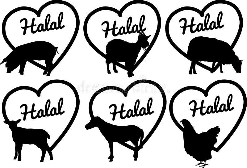 De etiketten van het Halalvlees of stickers of emblemen royalty-vrije illustratie