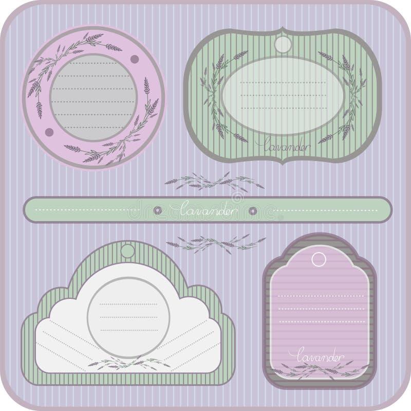 De etiketten van het kleurenbeeld met lavendel stock afbeelding