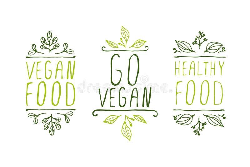 De etiketten van het veganistproduct royalty-vrije illustratie