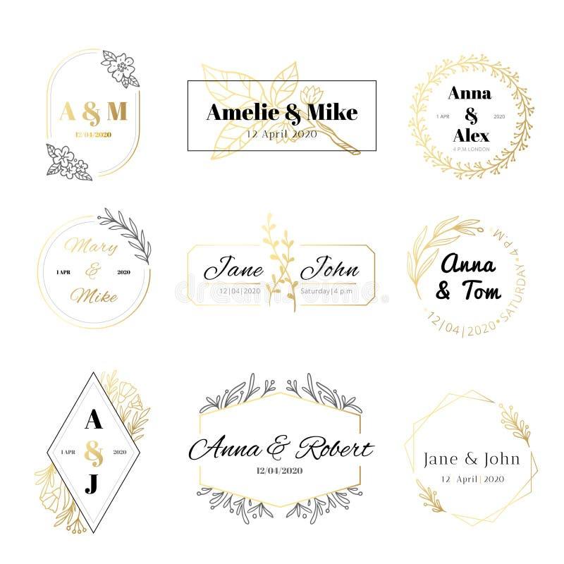 De etiketten van de huwelijksuitnodiging De minimalistische bloemenbladerenkaders, elegante gouden huwelijkskaart en bewaren de d stock illustratie