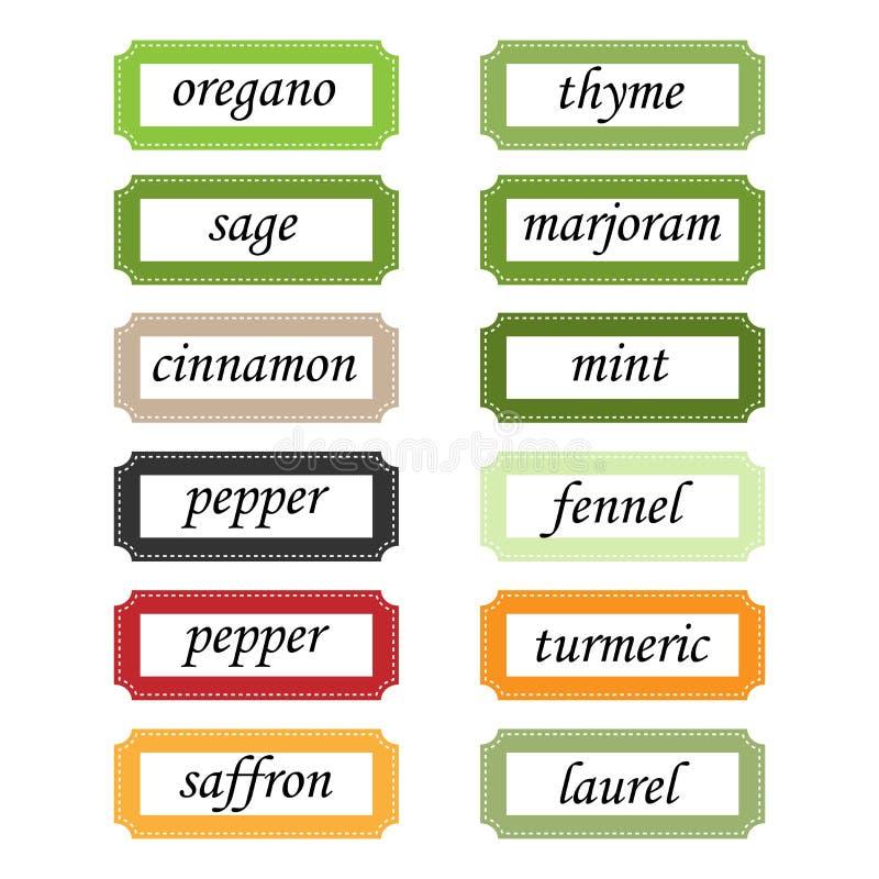 De etiketten van kruiden royalty-vrije illustratie