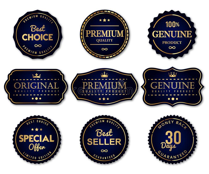De etiketten van de luxeverbinding en het product van de premiekwaliteit vector illustratie