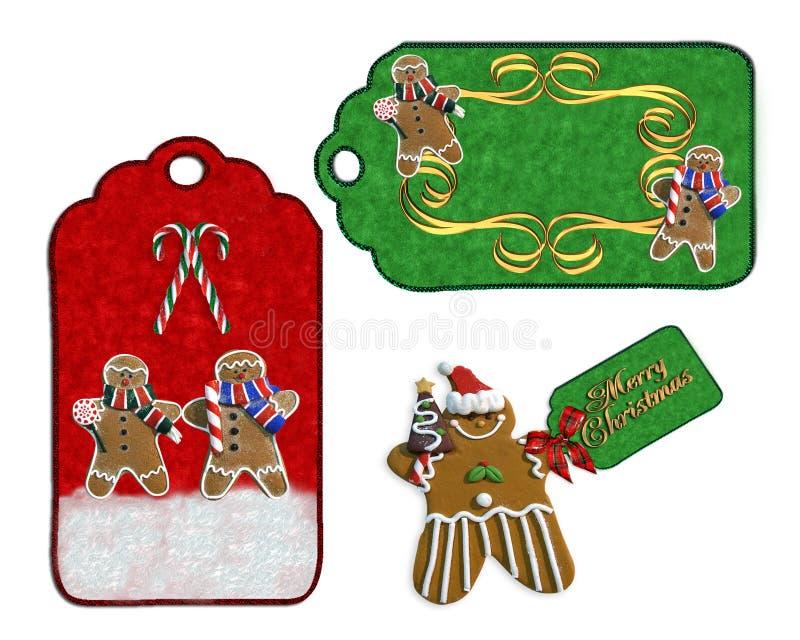De etikettenkoekjes en suikergoed van Kerstmis vector illustratie