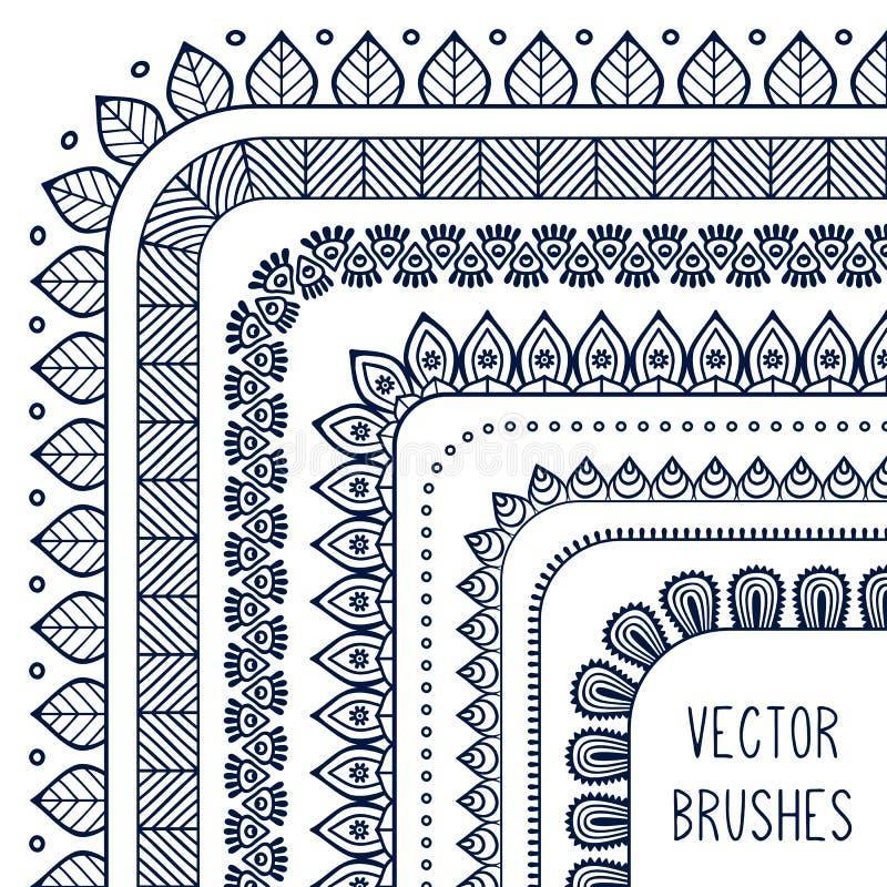 De etnische hand getrokken vectorreeks van de lijngrens en vector illustratie
