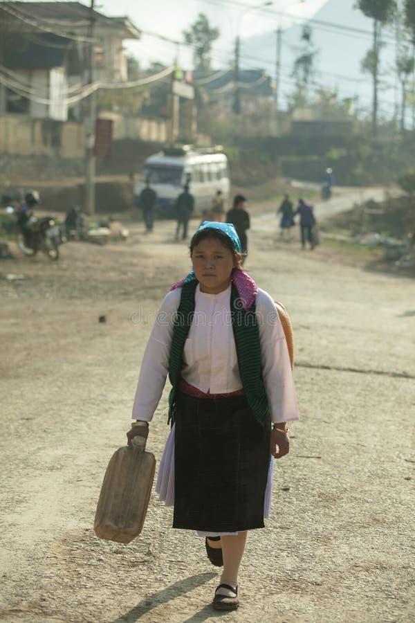 De etnische minderheidvrouwen gaan naar markt royalty-vrije stock afbeelding