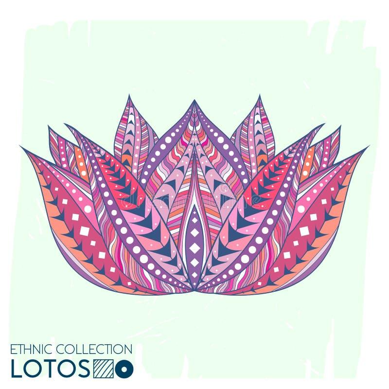 De etnische, stammenstijl van de Lotosbloem Bohodruk In hoog gedetailleerde cactus Kijk volkomen op t-shirt, zakken, stof, enz. vector illustratie