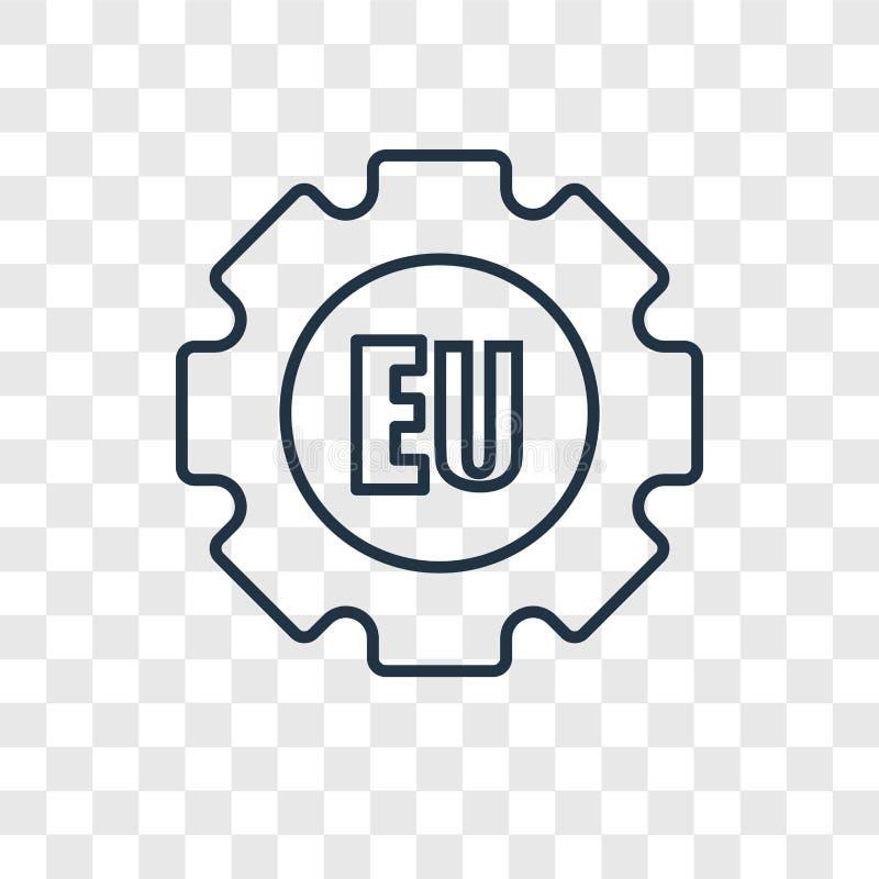 De EU-concepten vector lineair die pictogram op transparante achtergrond wordt geïsoleerd royalty-vrije illustratie