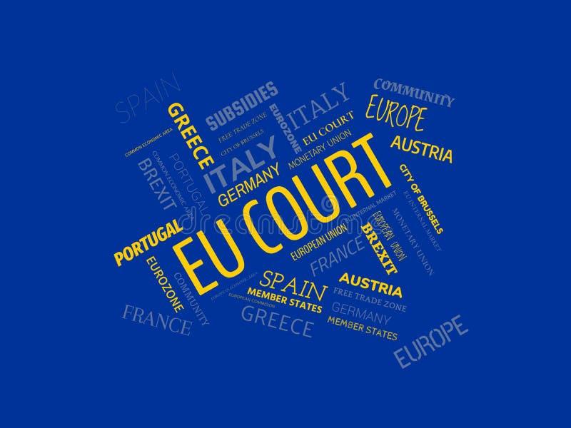 De EU-HOF - beeld met woorden verbonden aan het onderwerp EUROPEAN_UNION, woordwolk, kubus, brief, beeld, illustratie royalty-vrije illustratie