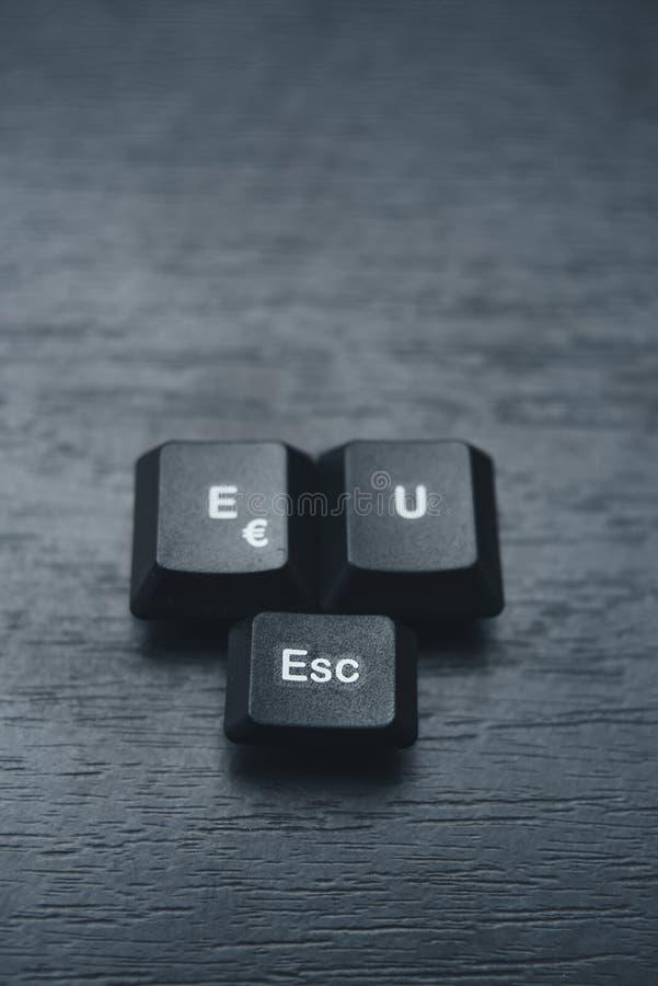 De EU-vlucht met de sleutels op het toetsenbord wordt geschreven dat stock foto