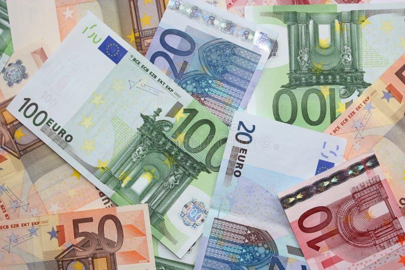 De euro bankbiljetten van het geld stock afbeelding
