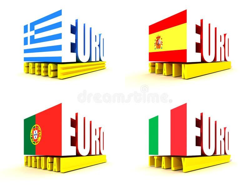 De euro Crisis van de Streek royalty-vrije illustratie