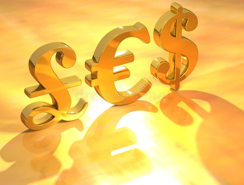 De euro dollar van het pond vector illustratie