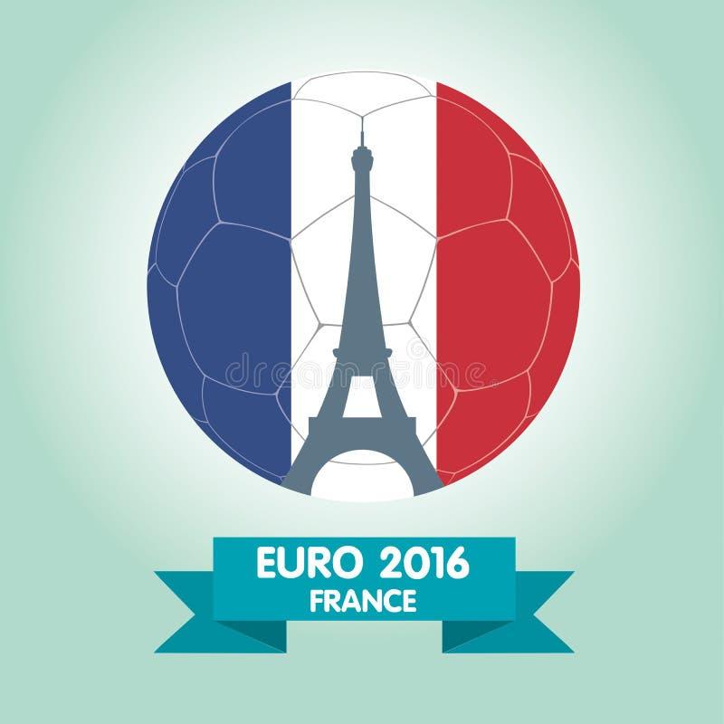 De Euro 2016 emblemen van Frankrijk Het Ontwerp van het de Torenpictogram van Eiffel royalty-vrije illustratie