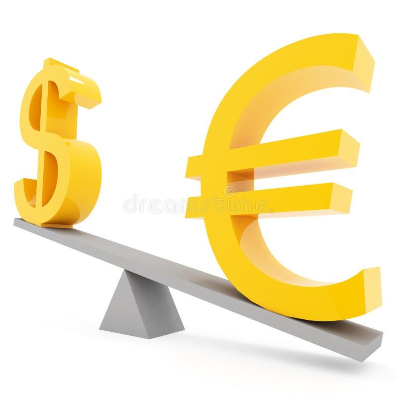 De euro en de dollar van het saldo royalty-vrije illustratie