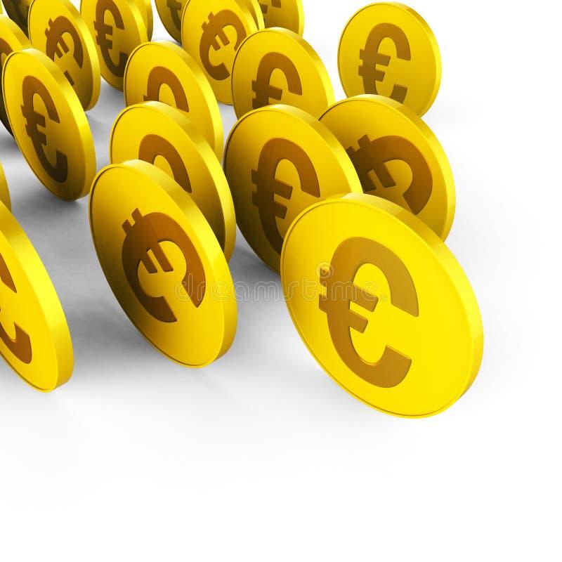 De euro Muntstukken vertegenwoordigt Bedrijfsbesparingen en Handel stock illustratie