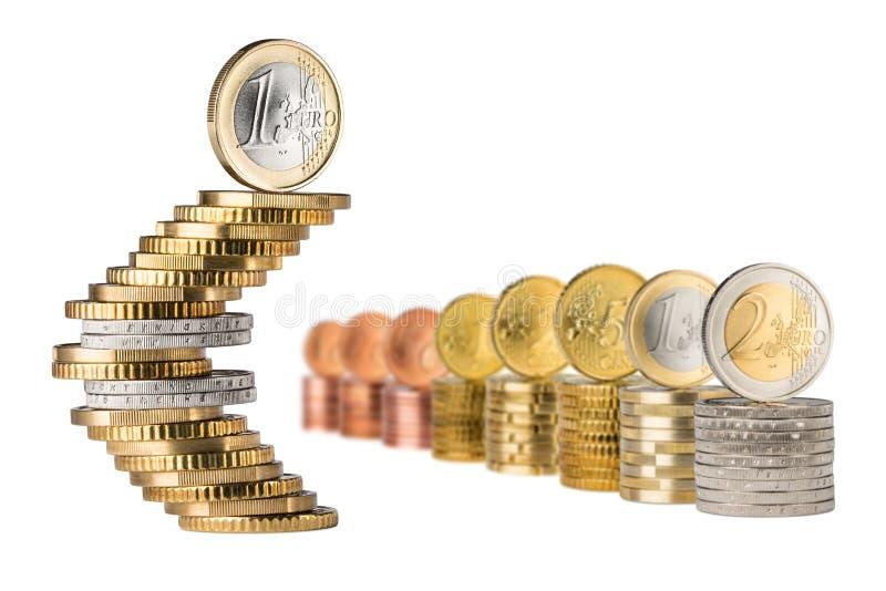 De euro rij van de symboolstapel royalty-vrije stock afbeelding