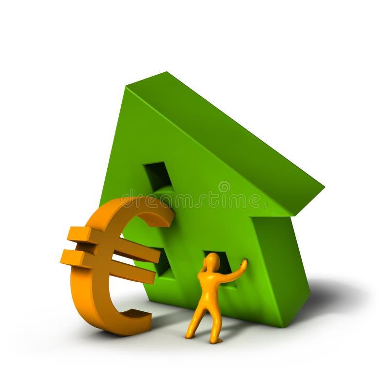 De Euro van de Crisis van de huisvesting vector illustratie