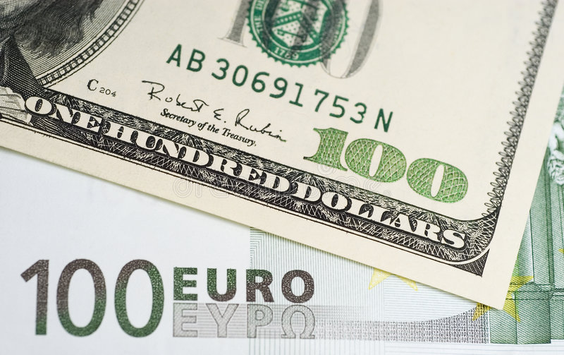 De euro van de dollar stock afbeeldingen