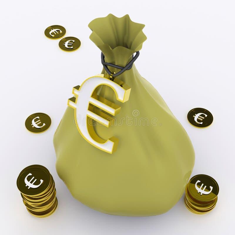 De euro Zak betekent Europees Rijkdom en Geld royalty-vrije illustratie