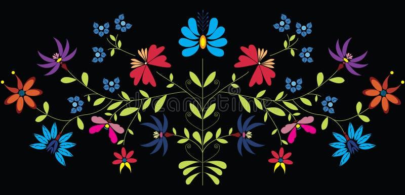 De Europese Cultuur inspireerde Volks Bloemenpatroon in kleur op zwarte achtergrond stock illustratie