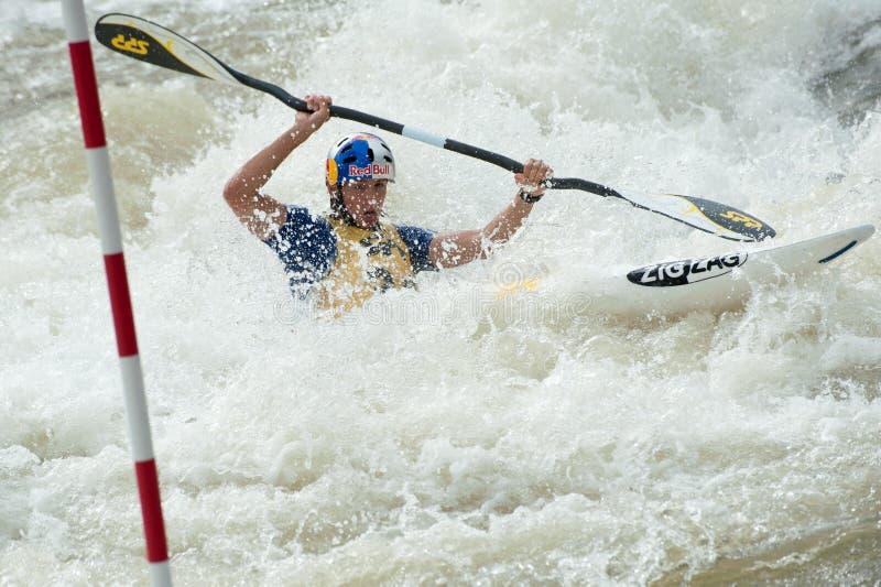De Europese Kampioenschappen van de Slalom van de Kano, Cunovo (SVK) stock foto