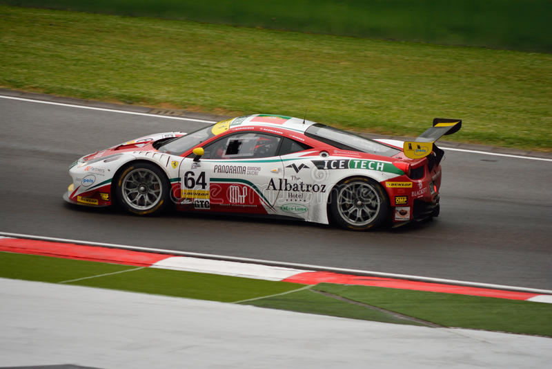 De Europese Reeks van Le Mans Ferrari F458 Italië GT3 in Imola royalty-vrije stock foto