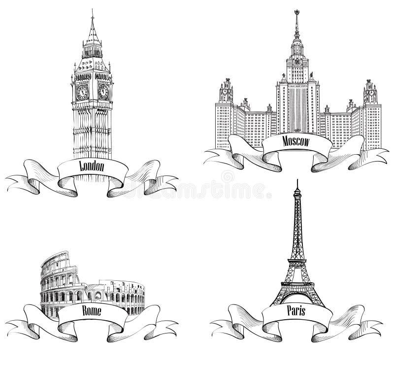 De Europese stedensymbolen schetsen inzameling: Parijs, Londen, Rome, Moskou stock illustratie