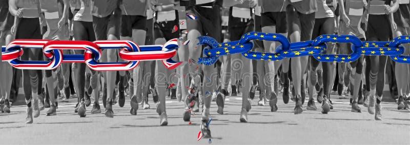 De Europese Unie van Brexitengeland stelt de vlagketting het begin van agentenvoeten beëindigt in werking de achtergrond van lijn stock afbeeldingen