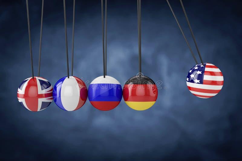 De Europese van landen vlaggen van de Verenigde Staten van Amerika en Verhoudingsvlag het 3d teruggeven stock illustratie