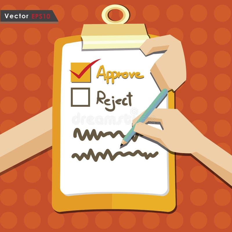 De evaluatie keurt kwaliteitscontrole eps10 goed vector illustratie